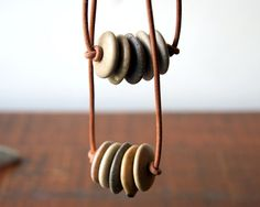 Beach stone necklace natural leather cord Cairn by WearYourWild