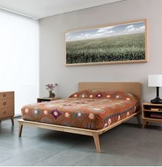 Matthew Hilton Valentine Bed - The Valentine bed is made with a solid oak base and veneered oak headboard. Contemporary Furniture, Contemporary Modern Furniture, Furniture, Beds Uk, Bed, Contemporary Bedroom, Contemporary Bed, Slatted Headboard, Bed Styling