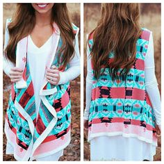 Sale! ⭐ Draped Turquoise Coral Aztec Cardigan Vest  Draped Neon Cardigan Vest ⭐ Perfect for chilly summer nights! ⭐ Brand new! Unworn, unwashed. ⭐ All Sizes Available - S/L/XL      ■ Medium is SOLD OUT ❌ ⭐ Ships In 1 Business Day From NC ⭐ Bundle For Savings! ⭐ Any Questions? Feel Free To Comment!   Comment with size for your own listing! Bundle to save! 15-25% off bundles! Sweaters Cardigans
