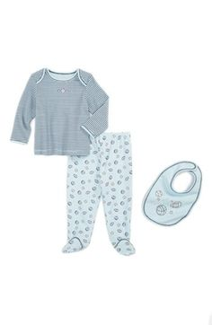 Little Me Top, Footie Pants & bib (Baby Boys) | Nordstrom