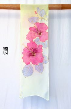 Silk Scarf Handpainted Pink Hawaiian Hibiscus by SilkScarvesTakuyo Saree Painting Designs, Fabric Paint Designs, Saree Floral, Floral Scarf, Hibiscus Rose, Hand Painted Dress, Gris Rose, Silk Art, Green Silk