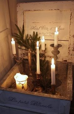 candlelight.  Love the box!  Would make a romantic setting for an Advent Wreath!