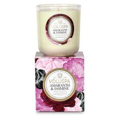 Voluspa Amaranth & Jasmine Candle (formerly White Jasmine Sambac) exudes the scent of the Royal Queen of flowers, the lush jasmine bloom. Soft petals of rare pink jasmine are presented with amaranth, essential oil infused. Voluspa Candles, Scented Candles, Candle Set, Candle Jars, Pink Jasmine, Luxury Candles, Home Fragrances, Smell Good, My New Room