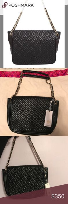 "NWT Tory Burch Marion Quilted Flap Shoulder Bag -NWT Tory Burch Marion Quilted Flap Shoulder Bag in the color black with gold hardware  -9""L x 8.5""H x 3.25""W -Leather, lined -Snap flap closure -Exterior snap pocket, inteiror zip compartment, three interior slip pockets, interior zip pocket, interior snap pocket  -9""L 3.25""W 8.5""H; 23"" strap drop -Dust bag included 🚨🚨NO TRADES🚨🚨 Tory Burch Bags Shoulder Bags"