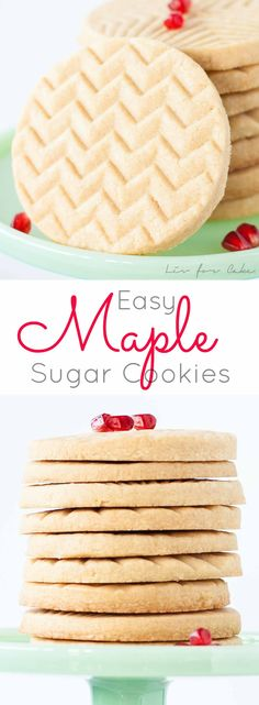 These Maple Sugar Cookies are simple, stunning, and delicious! Loaded with pure maple syrup, they are a perfect treat any time of year, especially during the holiday season! Maple Cookies, Sugar Cookies Recipe, Yummy Cookies, Baking Cookies, Stamped Cookies Recipe, Simple Sugar Cookie Recipe, Drop Cookies, Cookie Brownie Bars, Cookie Desserts