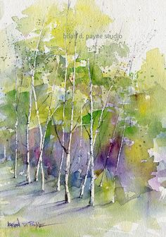 Edge of Spring by BrianPayneArt on Etsy Watercolor Canvas, Watercolor Trees, Watercolor Landscape, Watercolor And Ink, Watercolour Painting, Landscape Paintings, Watercolors, Landscapes, Tree Art