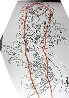Samurai Tattoo Sleeve, Koi Tattoo Sleeve, Oni Tattoo, Full Sleeve Tattoo Design, Forearm Tattoo Design, Irezumi Tattoos, Tatoo Art, Japanese Forearm Tattoo, Japanese Hand Tattoos