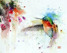 Colibri & FUSCHIA imprimé Aquarelle par Dean par DeanCrouserArt