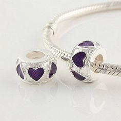 Purple Heart Enamel Charm 925 Sterling Silver Pandora #charms #pandoracharms #love #accesories #fashion