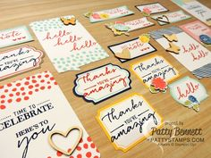 Card embellishment tags from the Stampin' Up! Watercolor Wishes card kit stamped and embellished ready to put on my 20 cards!