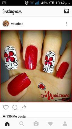 Uñas by justine Acrylic Nail Art, Gel Nail Art, Cute Toe Nails, Pretty Nails, Nail Designs Spring, Nail Art Designs, Red Nails, Hair And Nails, Bio Sculpture Gel Nails