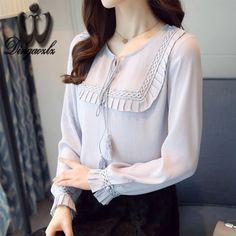 Dingaozlz Ladies blouse Casual Long sleeve Chiffon shirt Bow tie Women clothing Fashion Ruffles Female Chiffon Tops #Affiliate