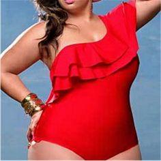 UTTU Women Sexy Plus Size Swimsuit High Waist Ruffle Padded One-Piece Bikini Swimwear Monokini Large Size 4XL maillot une piece