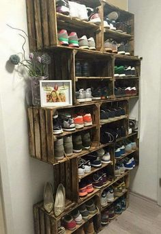 Wood Crates For Shoe Storage. Looking for storage solution for the mountains of your shoes? This wood crate shoe shelf is just for you. Perfect in a mudroom!