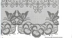 The wide border or short curtain Filet Crochet Charts, Crochet Motifs, Crochet Doilies, Crochet Stitches, Butterfly Stitches, Crochet Butterfly, Borboleta Crochet, Knitting Patterns, Crochet Patterns