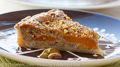 apricot tart with almonds, pistachio & rosemary frangipane