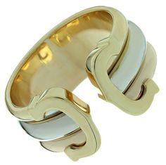 1990s CARTIER Double C Design Tri-Color Gold Ring