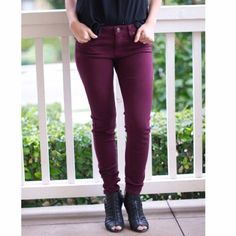 Wine skinny jeans 1st 2nd & 3rd picture shows this color more accurately. Color is definitely more of a berry tone than it is a red. I can't seem to get a good picture of the color :/ Anyway, fabric is very soft and these feel more like a jegging and have great stretch. Made in the USA🇺🇸 please DO NOT BUY this listing. Let me know what size you will need and I will create a separate listing for you. PLEASE 🚫NO TRADES OR PAYPAL🚫 what's your size? 24-0, 25-1, 26-3, 27-5, 28-7, 29-9, 30-11…