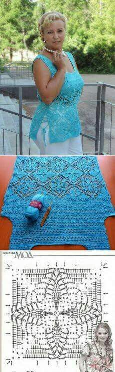 Crochet tank top   Pretty pattern for a cardigan drape front
