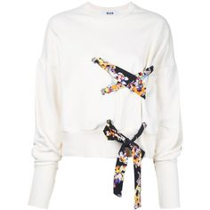 MSGM lace detail sweatshirt featuring polyvore women's fashion clothing tops hoodies sweatshirts white lace detail top white cotton sweatshirt msgm white sweatshirt white top