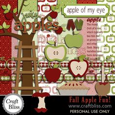 Off Sale Apple Fall Clip Art Digital Clipart Apple Paper Pack - Party Invitations Cards Crafts - Fall Apple Fun Digital Scrapbook Kit School Scrapbook Layouts, Scrapbook Examples, Scrapbook Sketches, Scrapbook Paper Crafts, Scrapbook Cards, Fall Clip Art, Digital Scrapbooking, Scrapbooking Ideas, Fall Cards