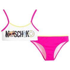 Moschino Kid-Teen - Girls Fuschia & White Logo Bikini |