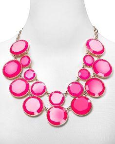 Amazon.com: Kate Spade New York Gold-Tone Fuschia Pink Baublebox Bib Statement Necklace: Jewelry