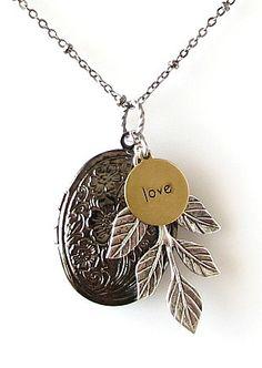 locket necklace flower locket necklace locket by KriyaDesign