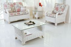 Superieur Picture Of White Cane Chair Flowers Motive Foam Square Glass Table