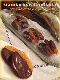 : Mandarinas Confitadas con Chocolate y Ron Montero.