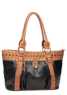 Black Designer Inspired Studs Croc Trim Lock Celebrity Handbag. Purse Tote