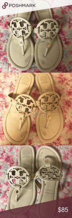 Tory Burch Cream Colored Miller Sandals Gently used cute sandals! My puppy got to the heel of one of them but it's really unnoticeable! Tory Burch Shoes Sandals