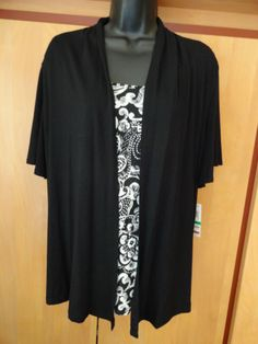 NEW JM Collection Large Cardigan & Tank Top Short Sleeve Mosaic Black & White