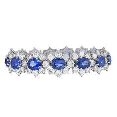 Van Cleef & Arpels Sapphire Diamond Platinum Bracelet | From a unique collection of vintage more bracelets at https://www.1stdibs.com/jewelry/bracelets/more-bracelets/