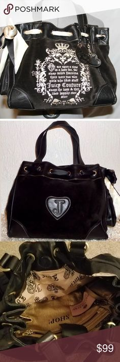 """Juicy Couture Black Daydreamer Bag Excellent condition, clean inside. Approximately 11"""" height, 12"""" width, 5"""" depth & 9.5"""" drop. Magnetic tab closure, roomy main compartment with zip pocket & 2 slip pockets size. Outside side slip pocket Juicy Couture Bags Shoulder Bags"""