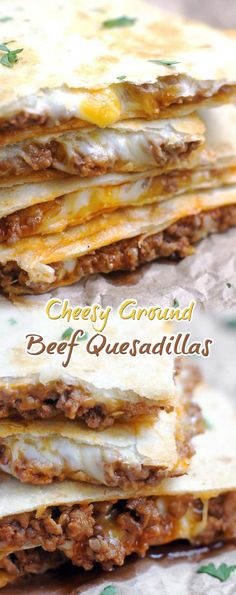 Cheesy Ground Beef Quesadillas - Recipes World Ground Beef Quesadillas, Ground Beef Burritos, Ground Beef Enchiladas, Ground Beef Casserole, Dinner With Ground Beef, Easy Ground Beef Meals, Ground Hamburger Recipes, Ground Beef Recipes Mexican, Cooking Ground Beef