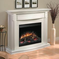 Gibraltar Travertine Modern Electric Fireplace with Logs - GDS33 ...
