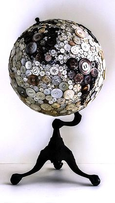LOVE this! World globe covered in vintage buttons!
