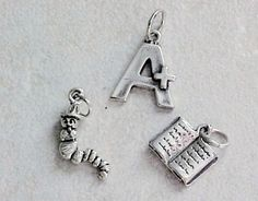 Sterling Silver Teacher Reading Education Charms 3  Open