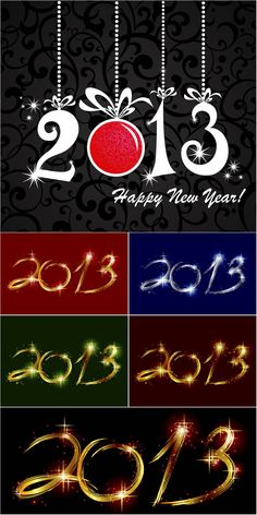 2013 happy new year backgrounds vector