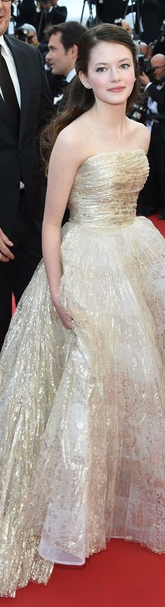 MACKENZIE FOY in Oscar de la Renta Cannes