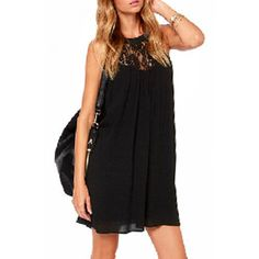 $10.09 Fresh Style Cut Out Lace Spliced Black Chiffon Dress For Women