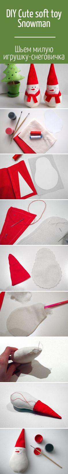 Шьем мягкую игрушку —  новогодний сувенир. Снеговичок, которого может сделать каждый ⛄ / Cute soft toy Snowman DIY