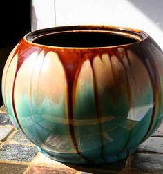 Radiant Vintage Belgium Drip Pottery Planter Bowl Vase Blue Green Brown Taupe 1940s 1950s