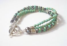 Magnetic Hematite Beaded Bracelet w/ Turquoise Magnesite. $28.45, via Etsy.
