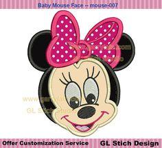 Baby minnie mouse applique, Machine Embroidery Design, Disney Minnie face digital stitch pattern appliques, digitized, mouse-007