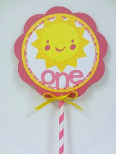 Sunshine Cake Topper / Smash Cake Topper Birthday Party Shower Pink Yellow Sun