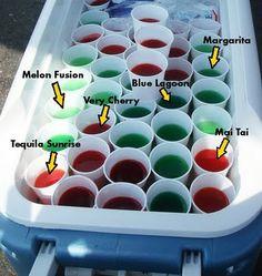 Jello shot recipes: Mai Tai, Blue Lagoon, Tequila Sunrise, Margarita, Very Cherry, and Melon Fusion
