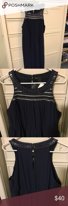 Lane Bryant Dress Size 14/16 Beautiful Blue Dress that goes all the way to the floor.  Black skirt underneath goes to about the knee and then the overlay goes all the way to the floor.  Bought it and lost some weight and it didn't fit the same. Lane Bryant Dresses