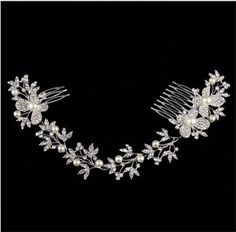 Bridal-Rhinestone-pearl-Headpiece-Butterfly-Crystal-Hair-tiara-Comb-Headwear-NEW
